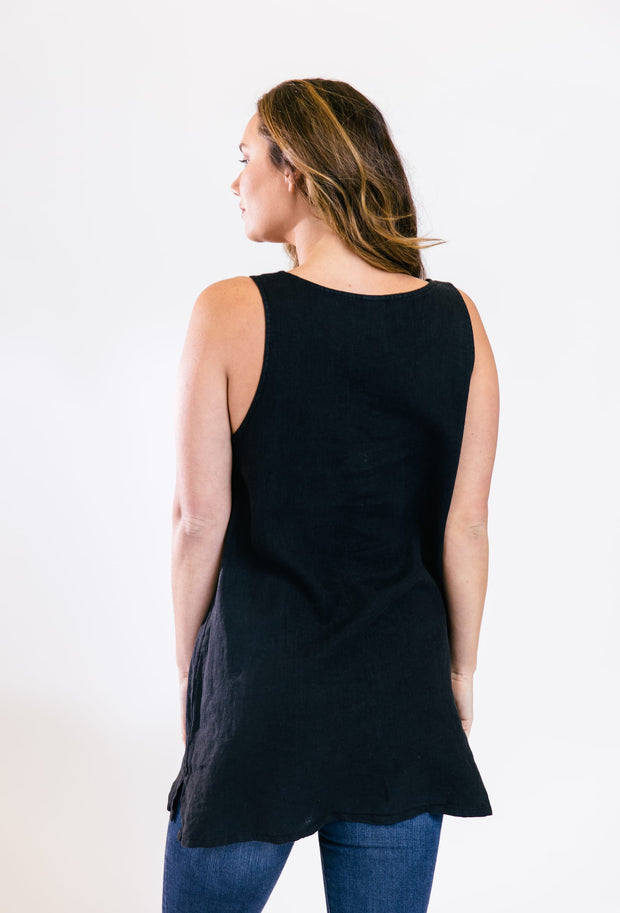 Sleeveless Linen Tunic - Black