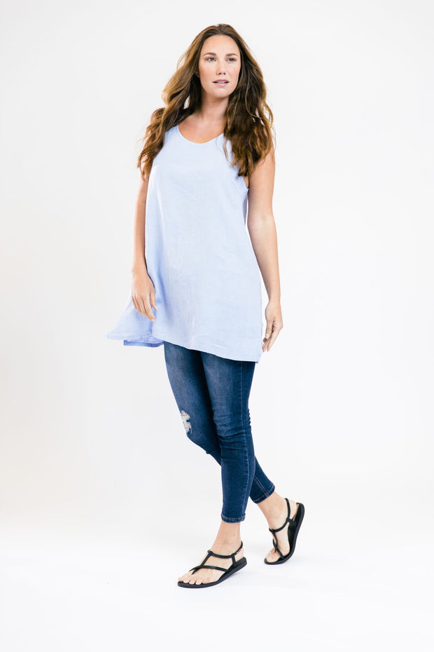 Sleeveless Linen Tunic - Light Blue