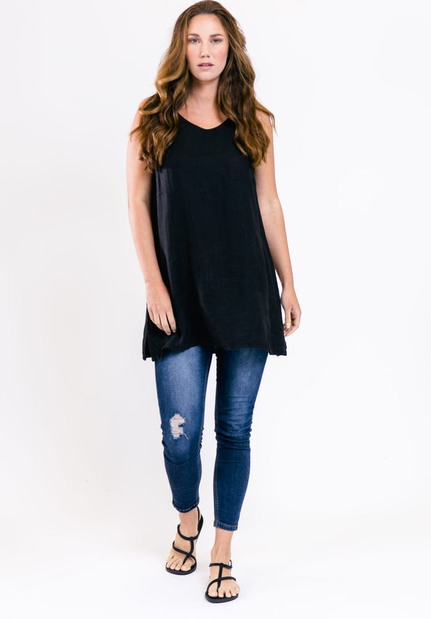 Sleeveless Linen Tunic - Catalina Blue