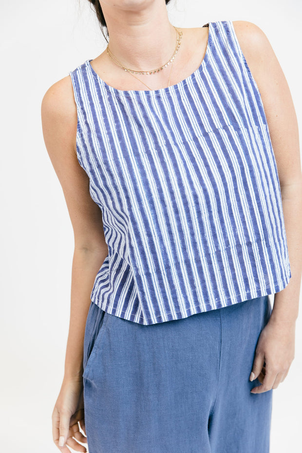 Cotton Pullover Tank - True Blue Stripe