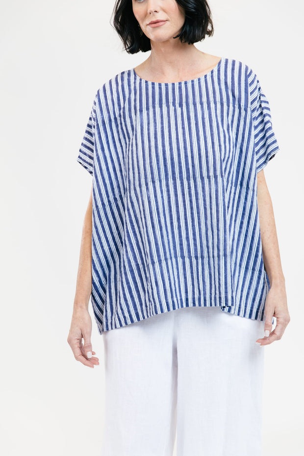Poncho Tee - True Blue Stripe