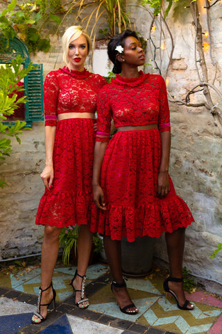 The ANIKA Red lace dress