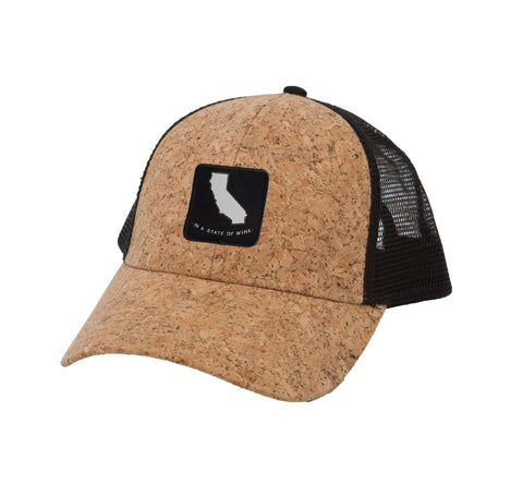 Men's Cork Trucker Hat State of Wine CA