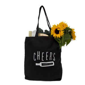 Cheers to Central Coast Black Canvas Market Tote
