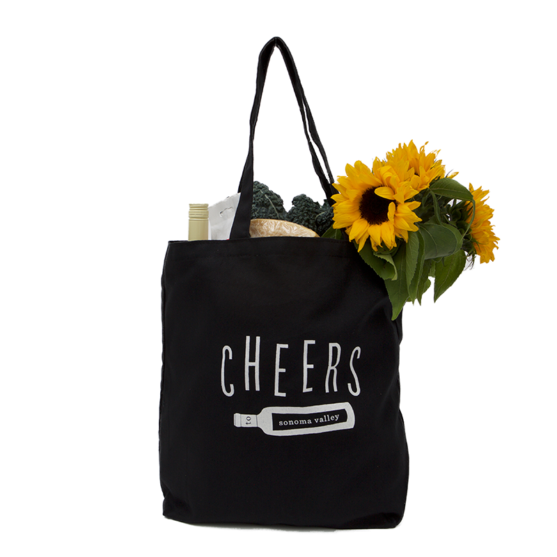 Cheers to Sonoma Black Canvas Market Tote