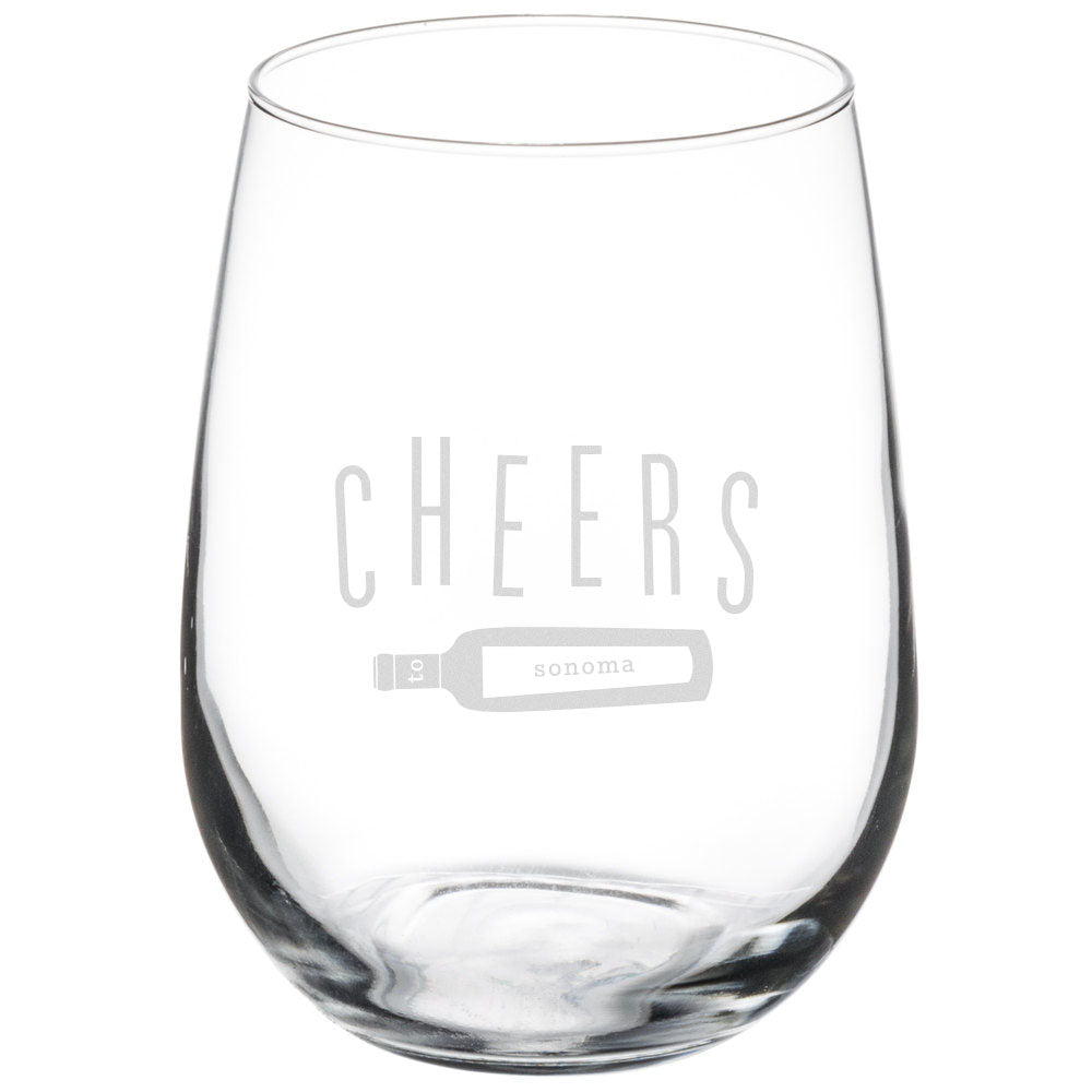 Cheers to Sonoma Stemless Glasses - Set of 4