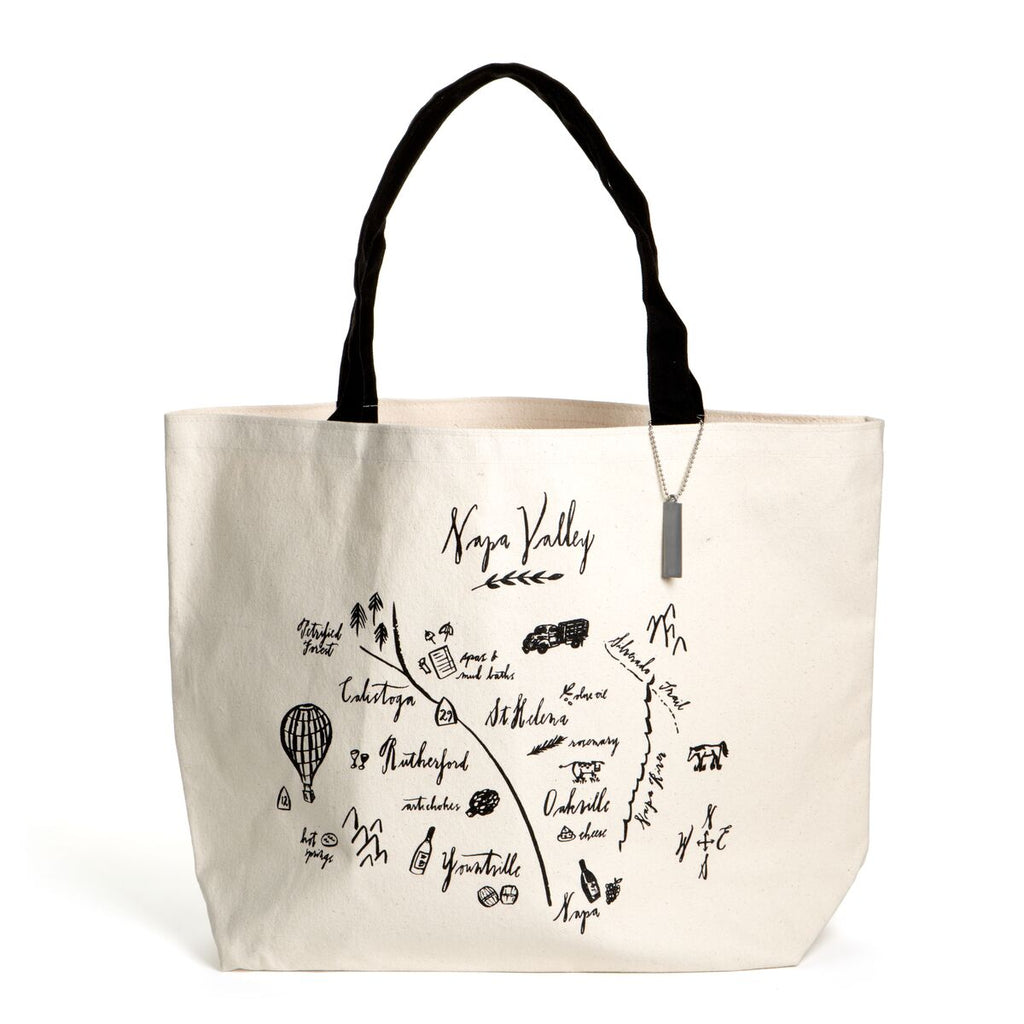 Calligraphy Map Napa Valley Heavyweight Tote