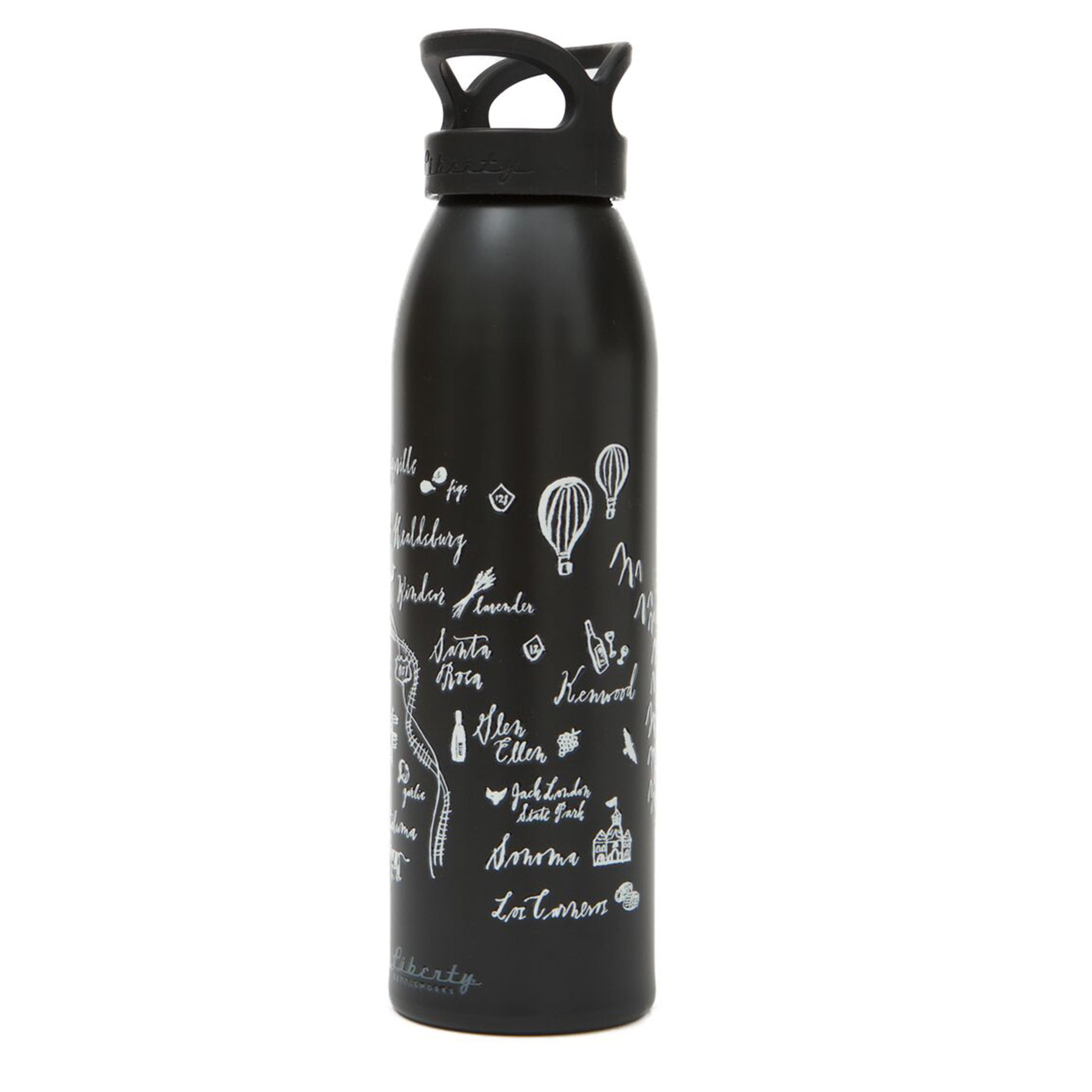 Calligraphy Map Sonoma Aluminum Water Bottle