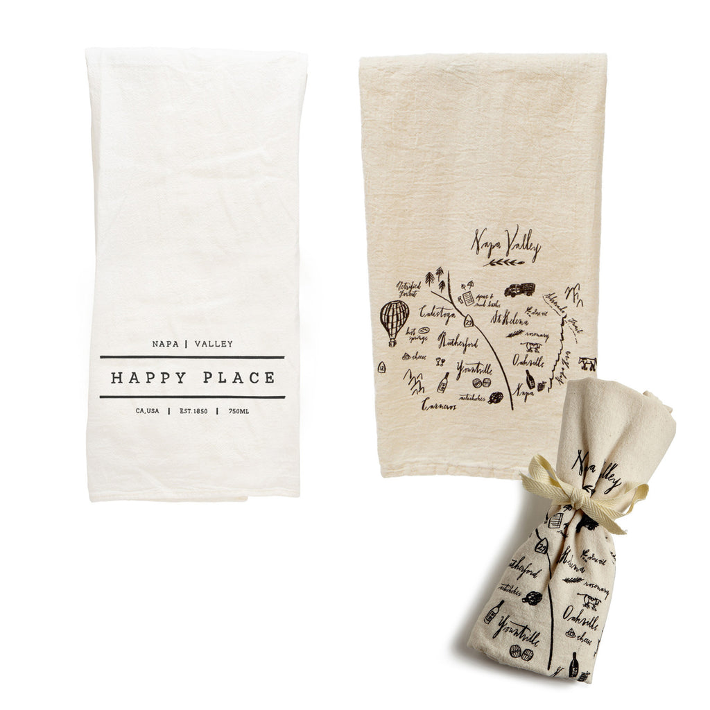 Tea Towel Bundle - Happy Place Napa & Calligraphy Map Napa