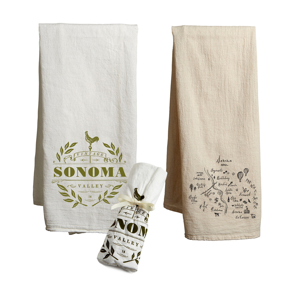 Tea Towel Bundle - Vintage Sonoma & Calligraphy Map Sonoma