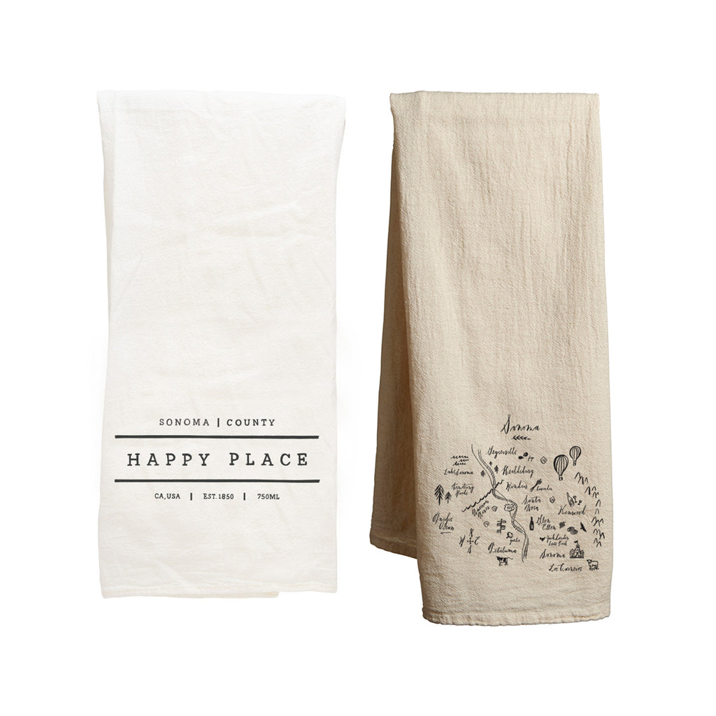 Tea Towel Bundle - Happy Place Sonoma & Calligraphy Map Sonoma