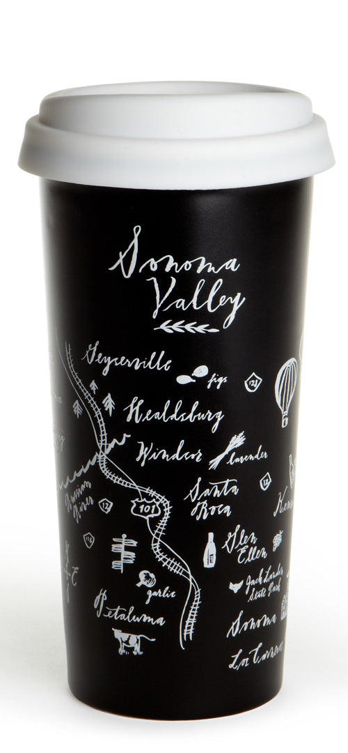 Calligraphy Map Sonoma Double Wall Ceramic Tumbler
