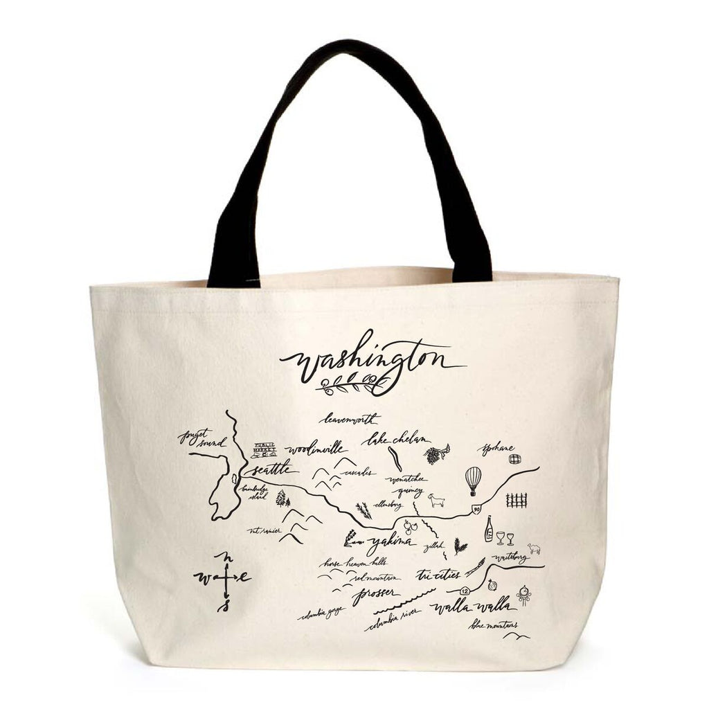 Calligraphy Map Washington Heavyweight Tote