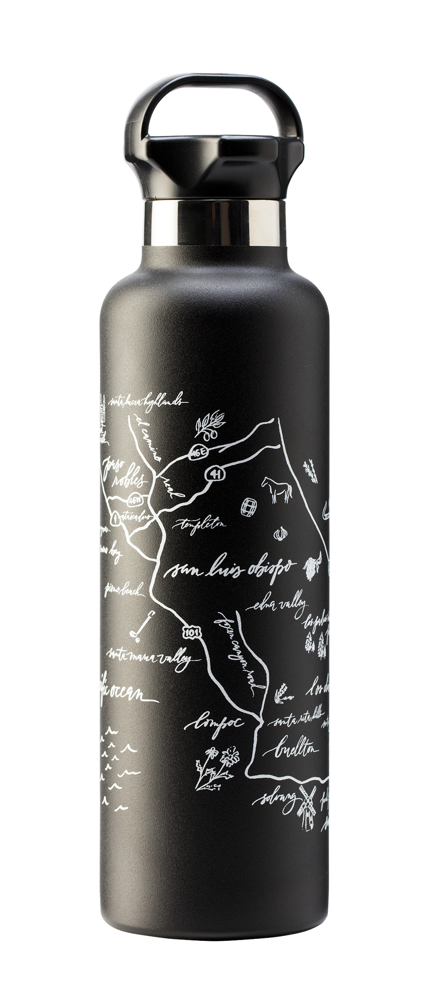 Calligraphy Map Central Coast Stainless Steel Water Bottle