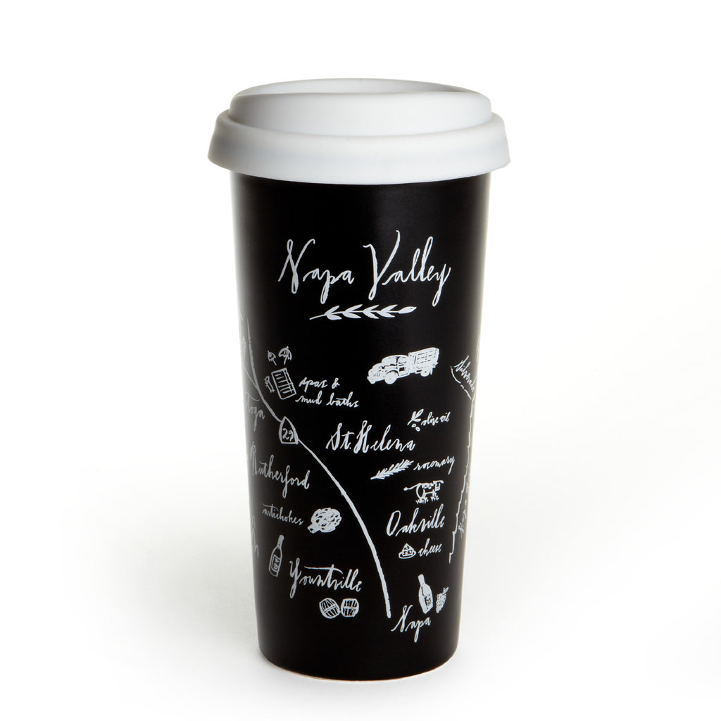 Calligraphy Map Napa Double Wall Ceramic Tumbler
