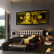100 dollar bill art black gold in luxury bedroom designed by inktuitive