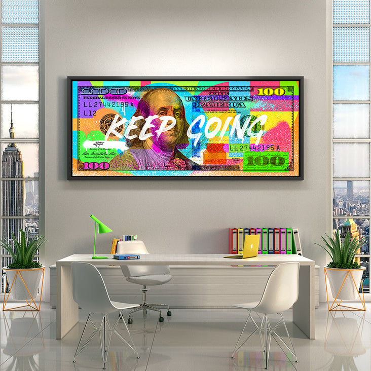 100 dollar bill colorful graffiti style motivational wall art by Inktuitive