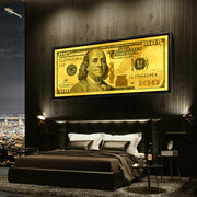 100 dollar bill money motivational wall art in city condo by Inktuitive