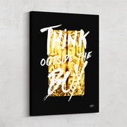 """Think Outside The Box"" motivational wall art."
