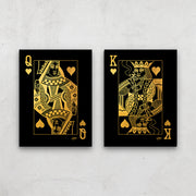 bedroom wall art for couples of king queen poker cards
