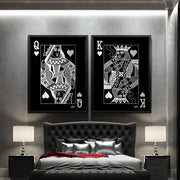 bedroom wall art of king and queen of hearts in silver