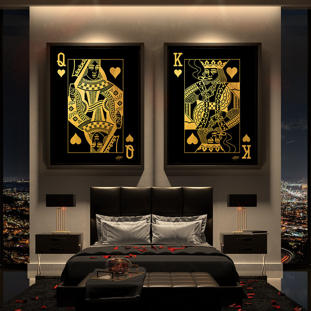 bedroom wall art of king and queen of hearts