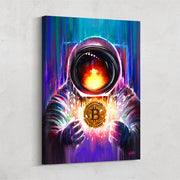 bitcoin spaceman vibrant inspirational wall art