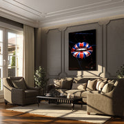 British lips Union Jack art in living room
