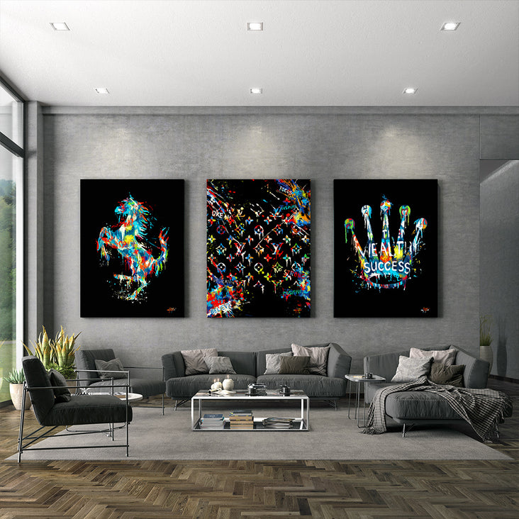 canvas art of ferrari louis vuitton and rolex luxury brands