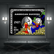 canvas art of american express black card with scrooge mcduck