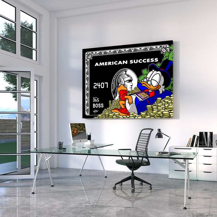 canvas art of scrooge mcduck on amex credit card