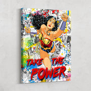 "Canvas art of Wonder Woman with text ""feel the power""."