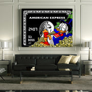 canvas wall art of american express with scrooge mcduck