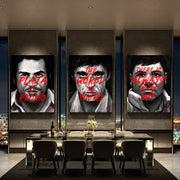 Canvas wall art of Scarface, El Chapo and Pablo Escobar.