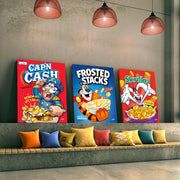 cereal box motivational wall art in living room