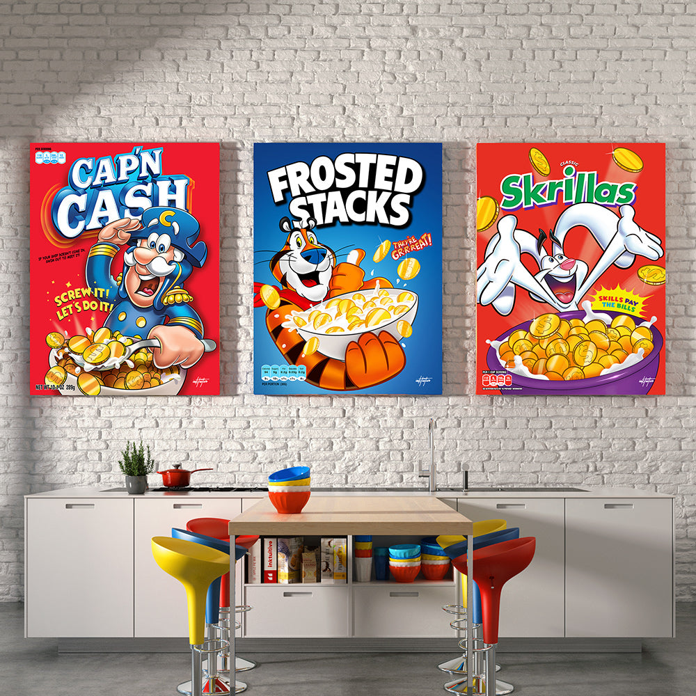 cereal boxes motivational wall art in designer kitchen