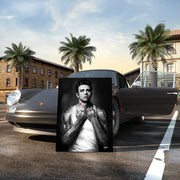 james dean canvas wall art on classic porsche