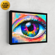 Colorful eye framed wall decor.