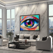 Colorful eye wall decor for living room.