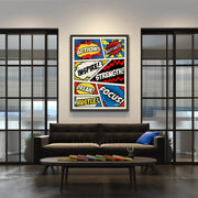 comic style motivational and inspirational art for living room