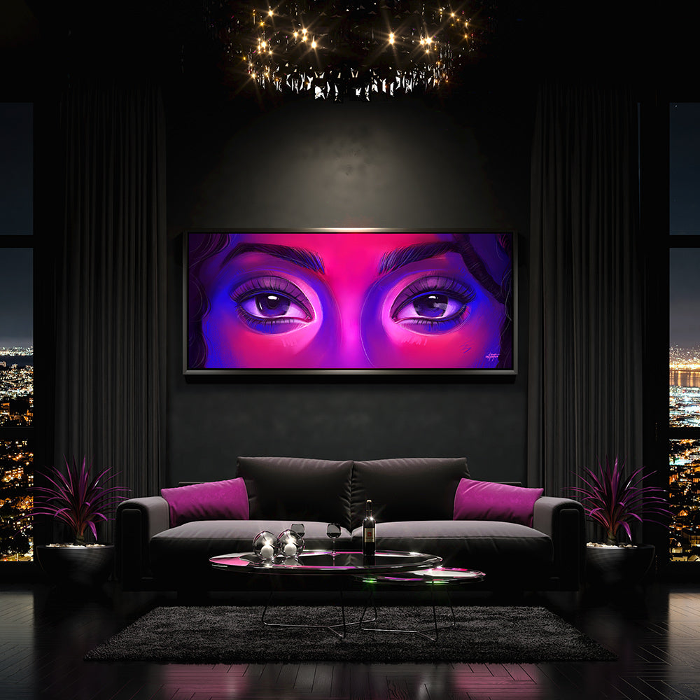 modern wall art of eyes in living room