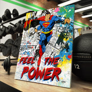 """Feel the power"" superman strength canvas art for gym."