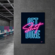Get Shit Done neon motivational canvas wall art print