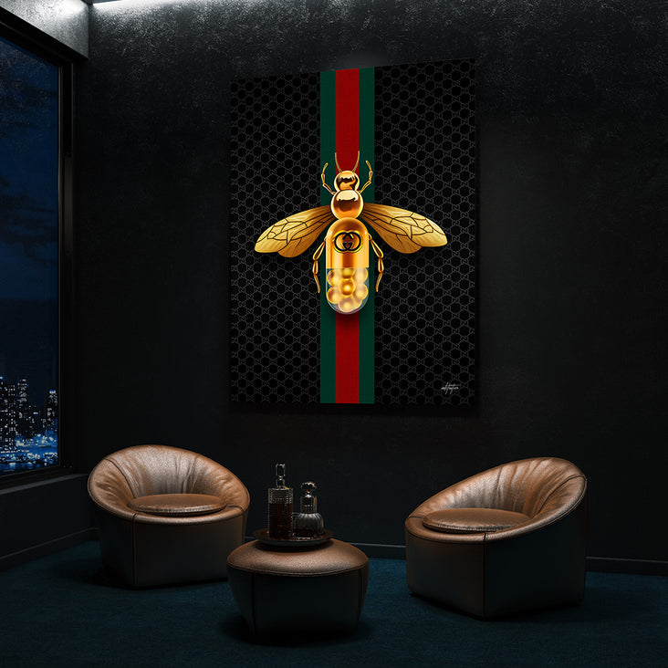 Gold Gucci bee with Gucci strip on modern canvas art.