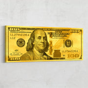 Gold leaf Benjamin Franklin 100 dollar bill motivational money wall art by Inktuitive