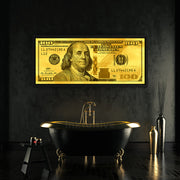 Gold leaf money art Benjamin Franklin 100 dollar bill by Inktuitive