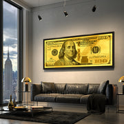 Gold standard money motivational wall art in city condo by Inktuitive
