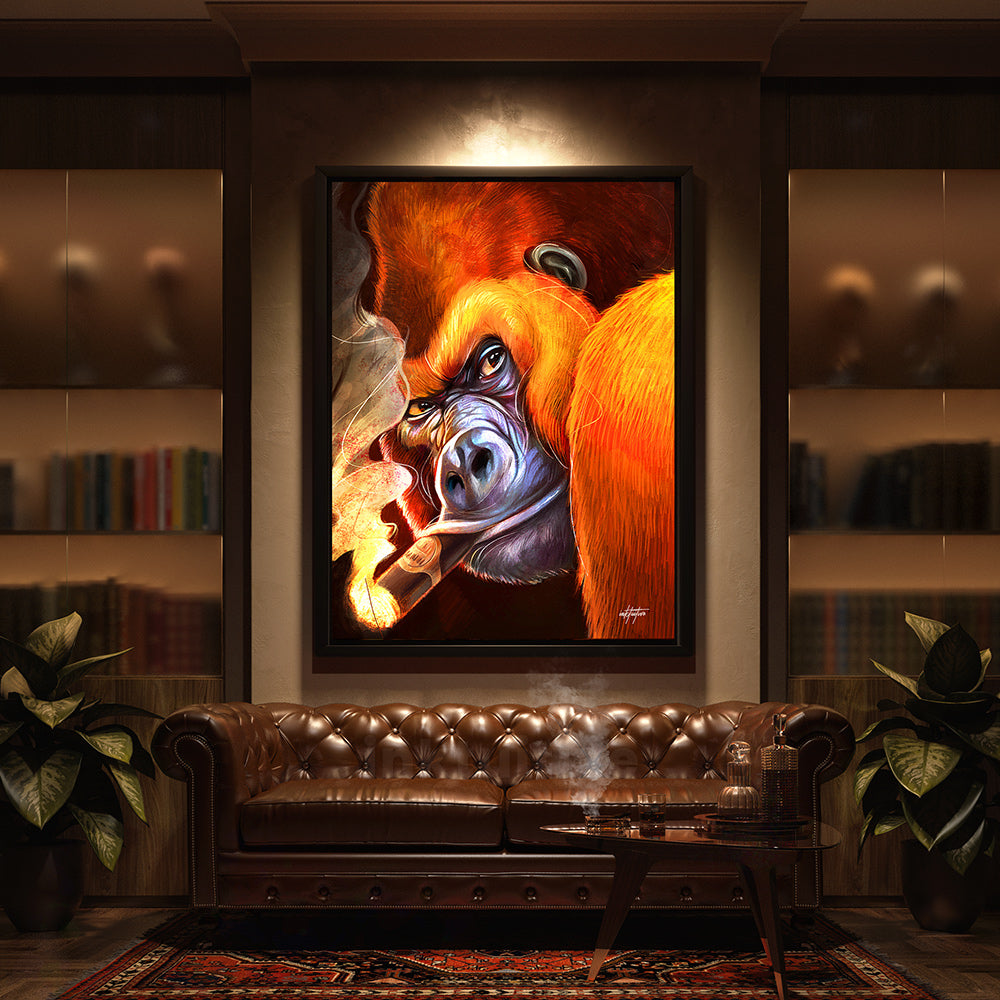 gorilla smoke man cave canvas wall art