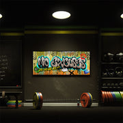 no excuses graffiti wall art in the gym