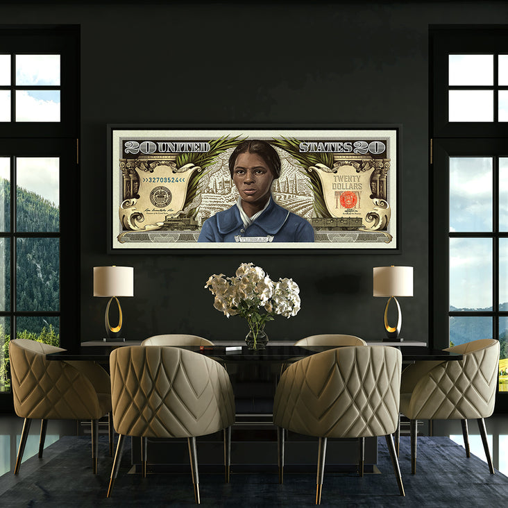 Harriet Tubman bill canvas art in dining room